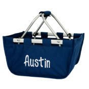 navy personalized market tote