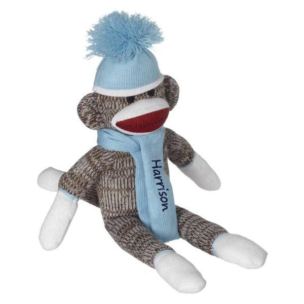Personalized Sock Monkey – Baby Blue