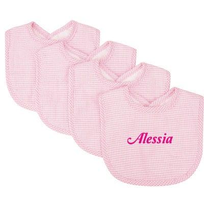 Pink Gingham Seersucker Bibs 1