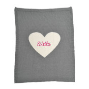Personalized Baby Blanket - Grey Heart