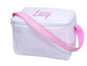 Personalized Lunch Box Pink Seersucker