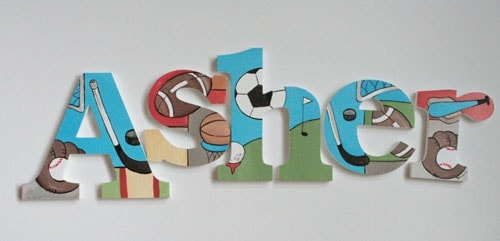 Sports wooden letters