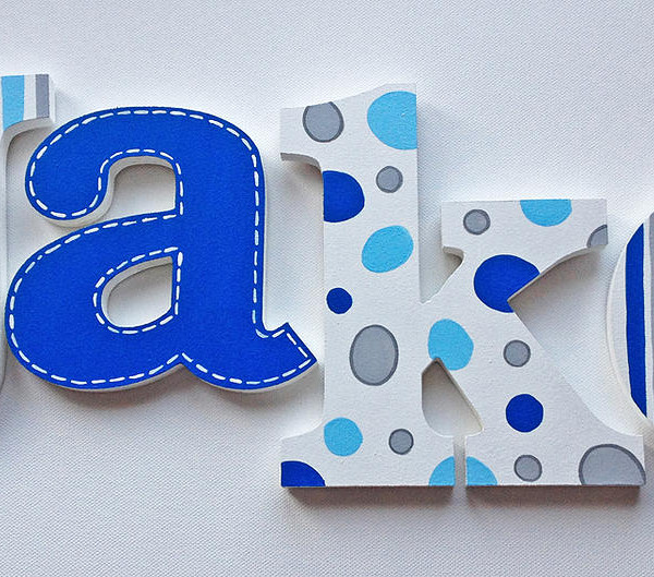 Grey & Blue Wooden Letters