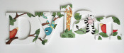 jungle animals wooden letters