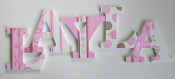 Pink Toile Wooden Letters