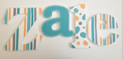 turquoise pattern wooden letters