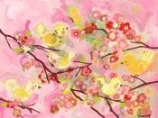 Cherry Blossom Birdies Pink