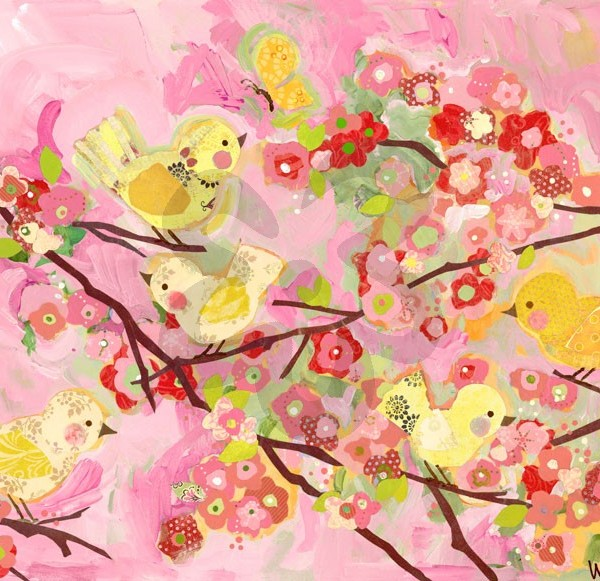 Pink Cherry Blossom Birdies Wall Art - You Name It Baby!