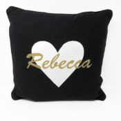 Personalized Pillow - Black with gold