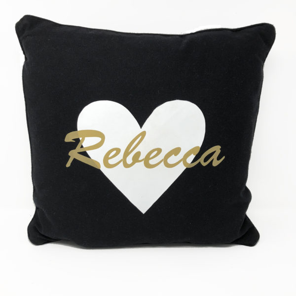 Personalized Pillow – Black with gold