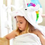personalized hooded towel - unicorn