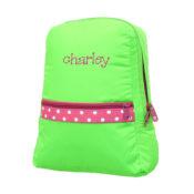 Personalized Kids Bag - Lime Polka Toddler Backpack
