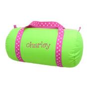 Personalized Kids Bag - Lime Polka Duffel