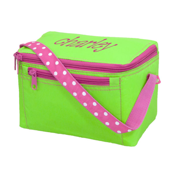 Personalized Kids Bag – Lime Polka Lunch Box