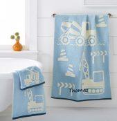 Kassa Kids Personalized Bath Towel - Construction