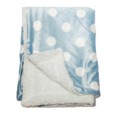 Personalized Blue Dotted Sherpa Blanket