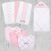 Personalized Baby Gift Set - Pink Sky 10 Piece Set