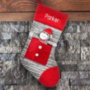 Personalized Stocking - Grey Sock Monkey