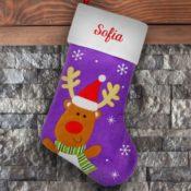 Personalized Stocking - Purple Reindeer