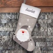 Personalized Stocking - Grey Santa