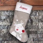 Personalized Stocking - Grey Reindeer