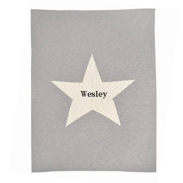 grey chunky star personalized blanket