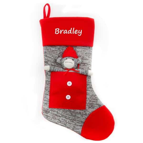 Personalized Christmas Stocking – Grey Sock Monkey