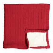 Red Cable Knit Christmas Blanket