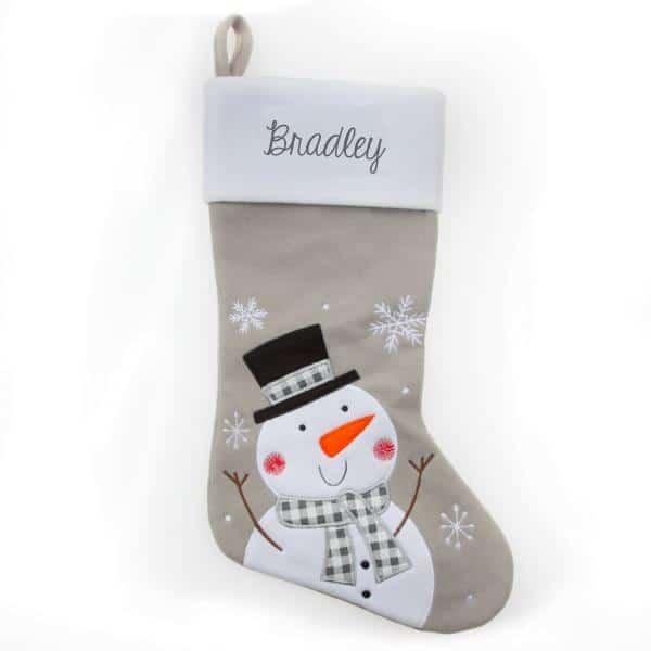 Personalized Christmas Stocking – Grey Snowman
