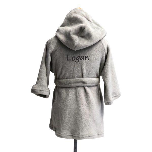 personalized grey robe for kids