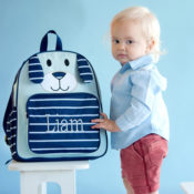 Personalized backpack - blue puppy