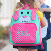 Personalized backpack - pink puppy