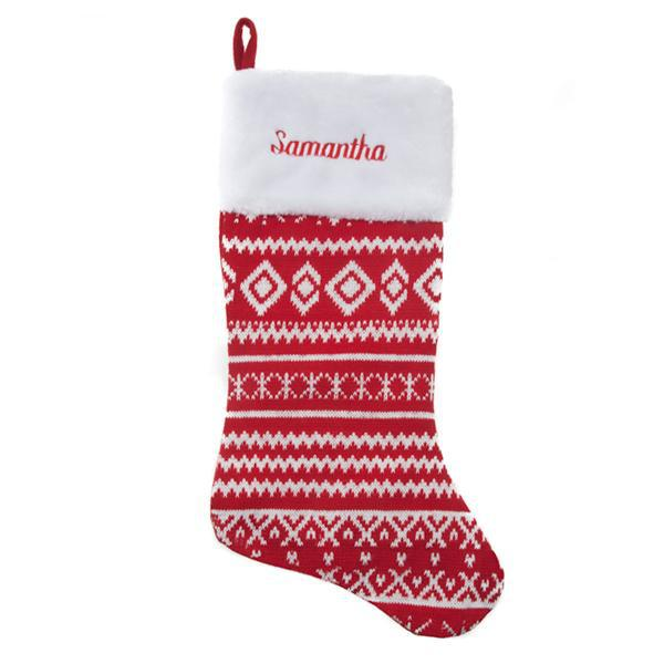 Personalized Christmas Stocking – Knit Red & White