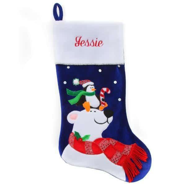 Personalized Christmas Stocking – Blue Polar Bear
