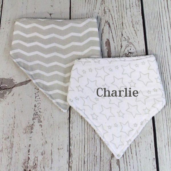Personalized Baby Bib – Grey