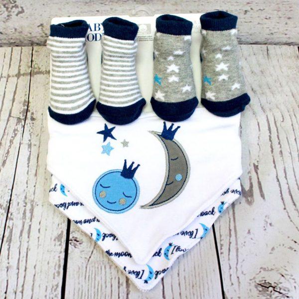 4 Piece Sock and Bib Set – Blue